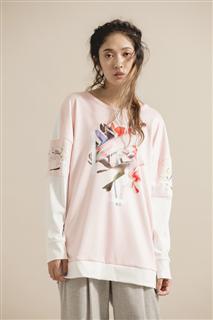 變形花卉T恤-粉