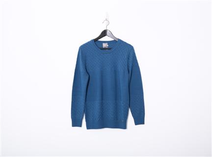 素色織紋上衣(深藍)