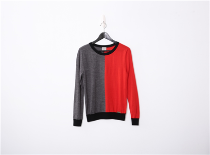 色塊織紋上衣(紅)