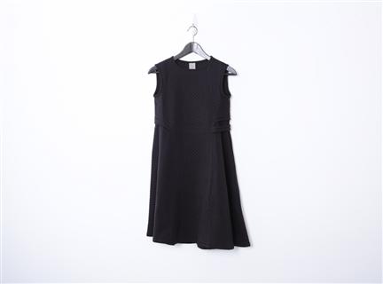 菱格棉背心洋裝(黑)