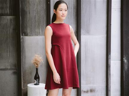 菱格棉背心洋裝(紅)