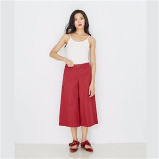 有機棉混紡剪接紅色寬褲