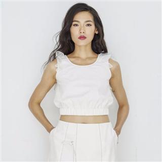 有機棉混紡袖襱荷葉邊白色背心