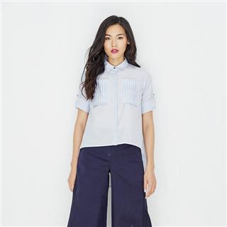 有機棉口袋壓折開襟粉藍色襯衫
