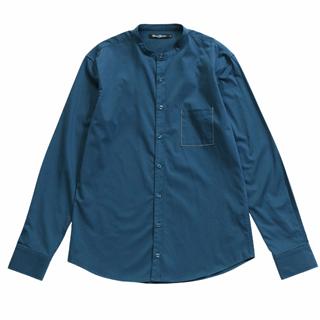 男款  有機棉混紡無領藍色襯衫