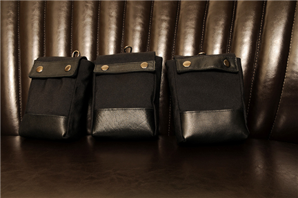BLACK x BLACK-手做皮革帆布掀蓋式相機/腰包