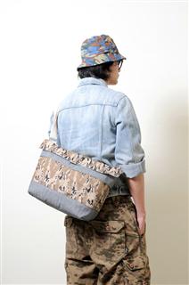 SURVIVOR-手做皮革迷彩丹寧布掀蓋式斜側揹/筆電包