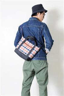 CHECK-做皮革丹寧格紋牛仔法蘭絨布手提/斜側揹/平板電腦包
