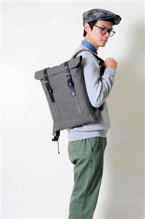 MOSS-手做皮革帆布掀蓋式後揹/筆電包