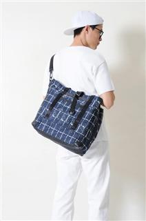 SAPPHIRE-手做皮革格紋棉布手提/斜側揹/筆電包