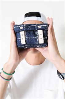 SAPPHIRE-手做皮革格紋棉布盒型相機/收納包