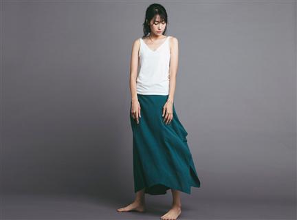不規則棉麻長裙 - 藍綠