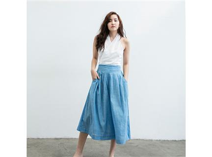 短版打褶寬褲 - 藍白條紋