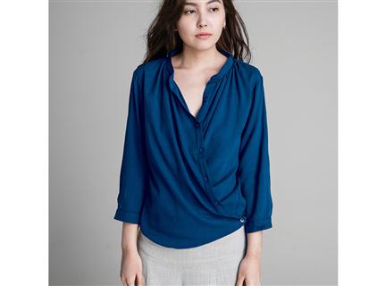 交叉襯衫 - 藍