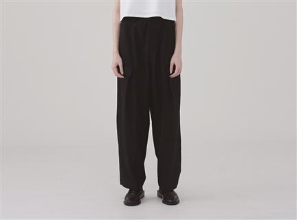 低口袋活褶寬褲