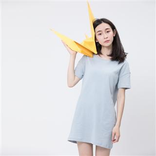 風吹棉口袋長版TEE/霧藍