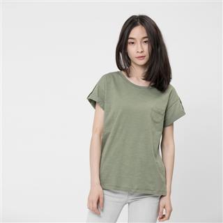 竹節棉褶袖鈕扣上衣/軍綠