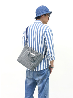 STRIPE-手做皮革條紋丹寧帆布手提/斜側揹/平板電腦包