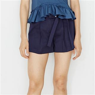 藍色寬腰帶綁帶短褲