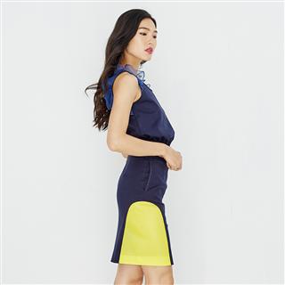 藍拼接及膝裙