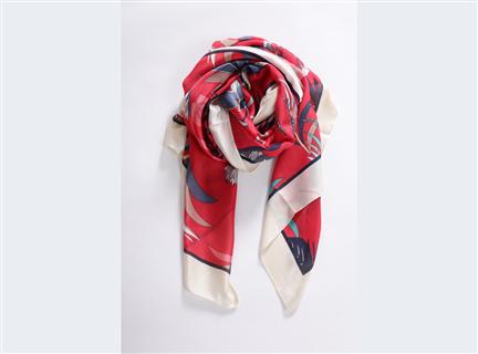 多彩荷花絲質披巾-紅