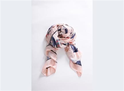 多彩荷花絲質披巾-粉