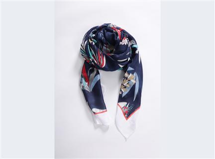 多彩荷花絲質披巾-藍