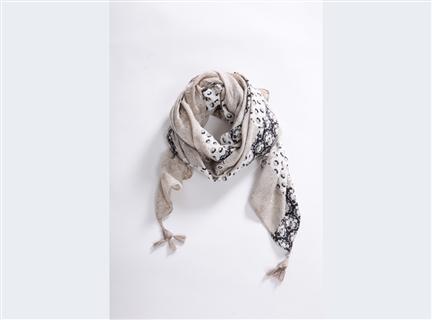 印花滿版圍巾-卡其