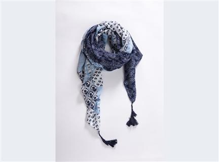 印花滿版圍巾-藍
