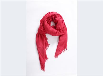 細格紋圍巾-紅