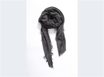 細格紋圍巾-黑