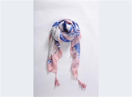 拼色印圖圍巾-粉白