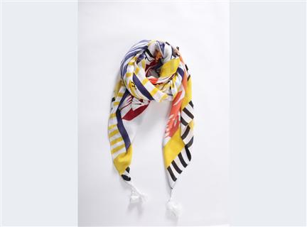 拼色印圖圍巾-黃黑