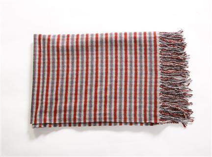 AA234羊絨混紡細格圍巾紅灰