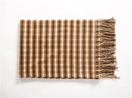 AA234羊絨混紡細格圍巾咖啡