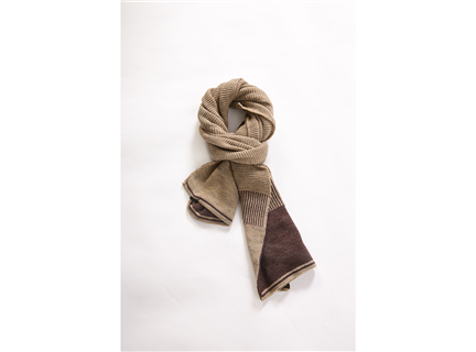 AA235撞色編織圍巾咖啡