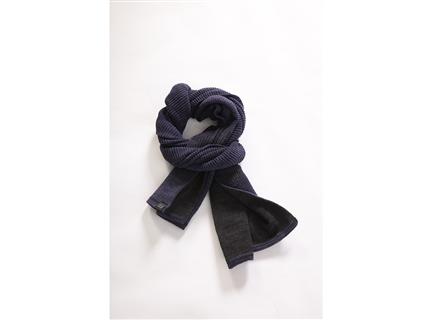 AA235撞色編織圍巾深藍