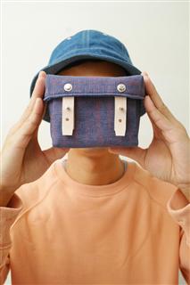 EASTER EGGS-手做皮革碎點印花帆布盒型相機/收納包