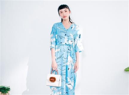 韓國印花V領慵懶睡衣風雪紡洋裝