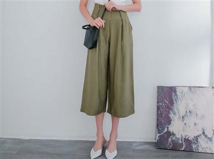 軍綠高腰設計寬鬆西裝長褲