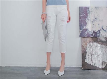 刷破高腰修身白色丹寧七分褲