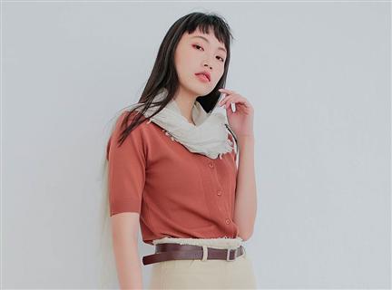 開襟翻領單排釦冰絲五分袖針織衫