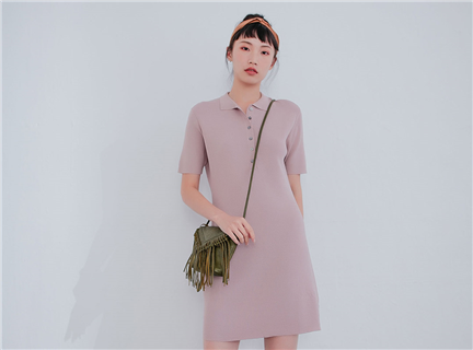純色襯衫領半排釦連身針織短洋裝