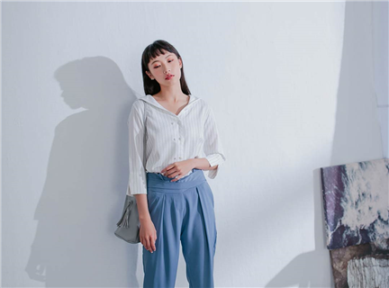純色寬腰封腰帶式修身錐形西裝長褲