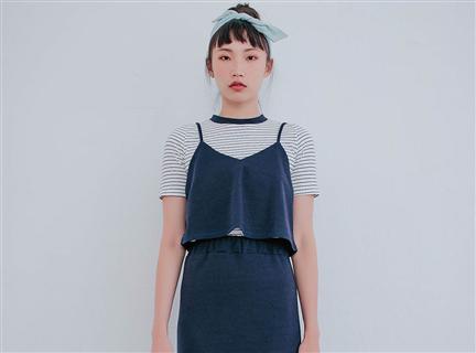 條紋圓領T恤吊帶背心三件式鱼尾裙套裝