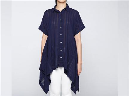 Indigo傘狀短袖罩衫