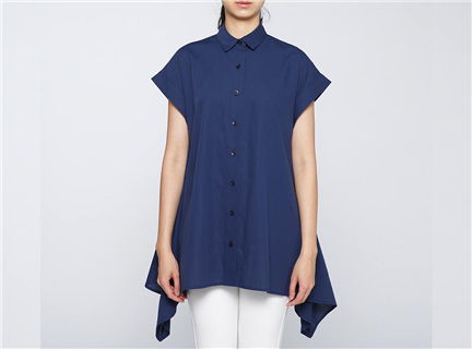 強撚傘狀罩衫(藍
