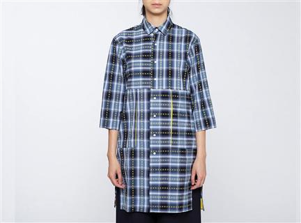 W格紋直筒罩衫(藍)