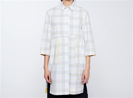 W格紋直筒罩衫(灰)