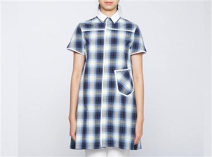 格紋長版女罩衫(藍)